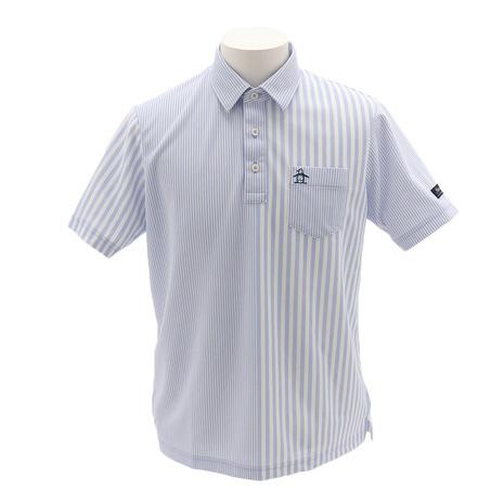 マンシングウエア(MUNSING WEAR) ゴルフウェア メンズ ストライプ柄クーリスト半袖シャツ MGMNJA26-BL00 (Men's)