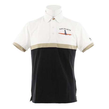 マンシングウエア(MUNSING WEAR) ゴルフウェア メンズ パネルボーダー半袖シャツ MGMNJA04X-WHBK (Men's)