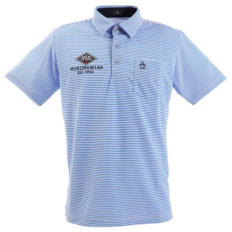 マンシングウエア(MUNSING WEAR) ポロシャツ メンズ SUNSCREEN ミニボーダー半袖ポロシャツ MGMPJA13-BL00 (Men's)