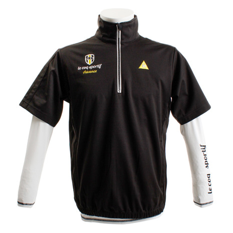 ルコック スポルティフ(Lecoq Sportif) 長袖ハイネックシャツ付き半袖ジャージ QGMMJL51W-BK00 (Men's)