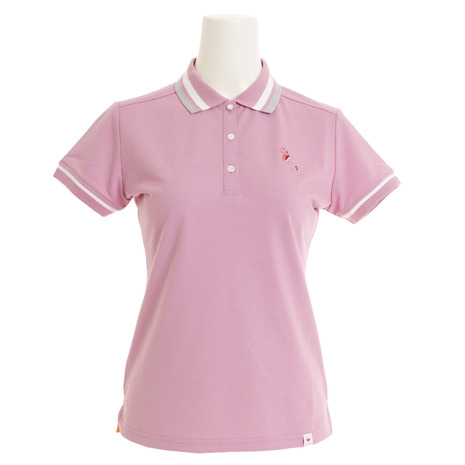 ジュンアンドロぺ(JUN&ROPE) ゴルフウェア レディース ミリオンアイスフラミンゴ刺繍半袖ポロシャツ ERM29000-63 (Lady's)