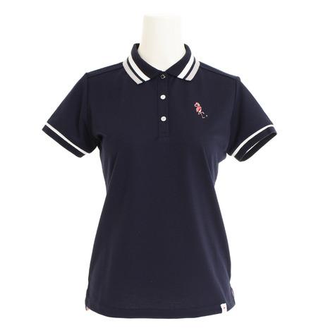 【ポイント最大29倍!0のつく日限定!エントリー要】ジュンアンドロぺ(JUN&ROPE) ゴルフウェア レディース ミリオンアイスフラミンゴ刺繍半袖ポロシャツ ERM29000-40 (Lady's)