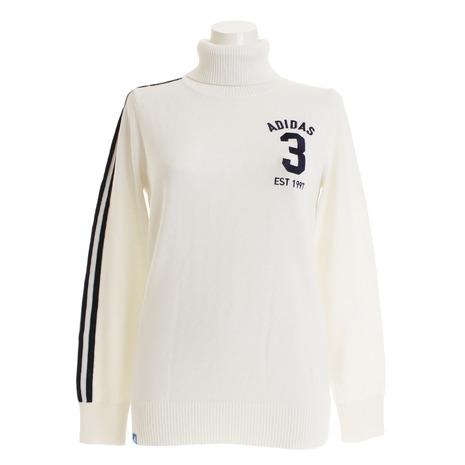 アディダス(adidas) 3ストライプ タートルネックセーター CCT17-U31483ホワイト (Lady's)