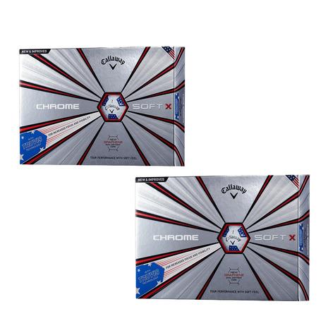 キャロウェイ(CALLAWAY) ゴルフボール BL CHROMESOFT(クロムソフト) X 18 トゥルービス USA 2ダースまとめ買いセット ブルー×レッド (Men's、Lady's)