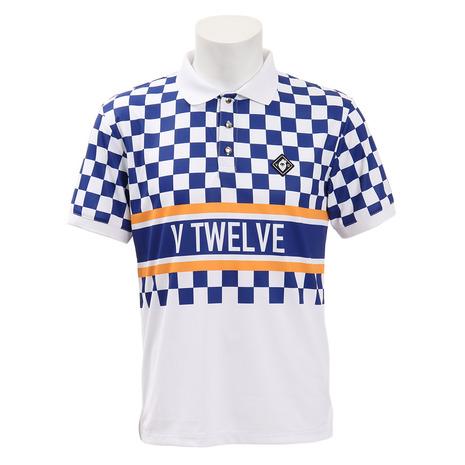 V12 ゴルフウェア メンズ VIOR チェッカーフラッグ柄 半袖ポロシャツ V121910-CT13-NVY (Men's)
