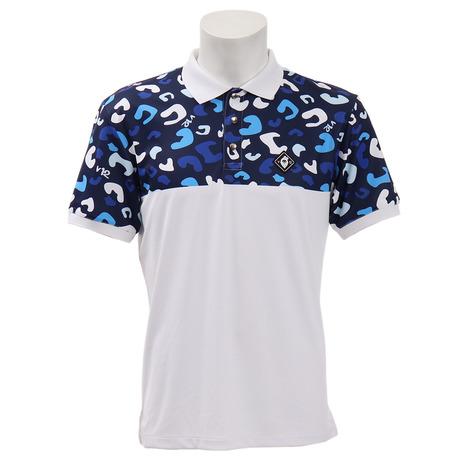 V12 V12 (Men's) ゴルフウェア V121910-CT22-BLU メンズ レオパード柄 半袖ポロシャツ V121910-CT22-BLU (Men's), 可愛い生地屋レッドバタフライ:5d8ddd3e --- sunward.msk.ru
