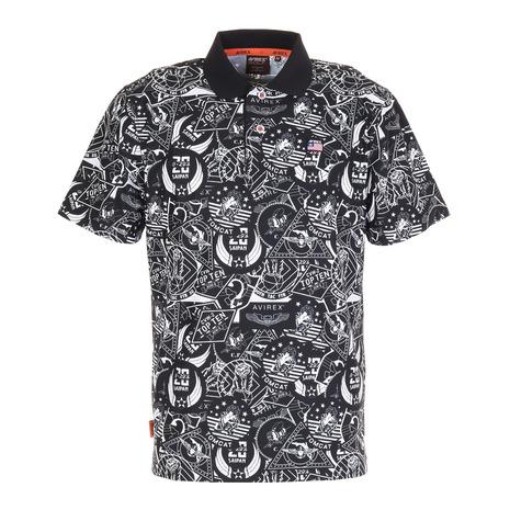 お買い得 アヴィレックス AVIREX 総柄プリント 半袖ポロシャツ お洒落 BLK AVXBA1ー14SP メンズ