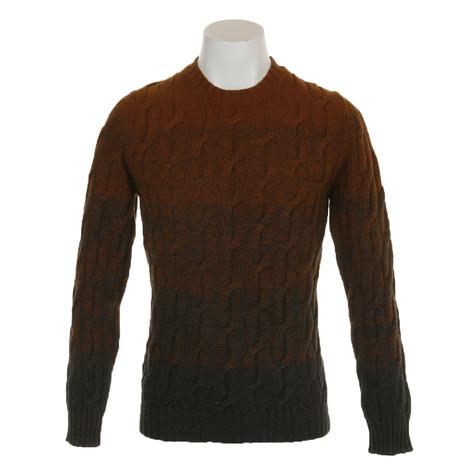 ALPHA STUDIO ゴルフウェア メンズ G長袖セータークルーネック AU8450C-8C-EU5280 (Men's)
