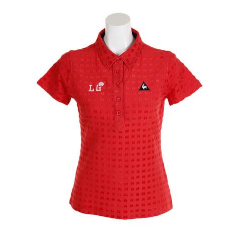 ルコック スポルティフ(Lecoq Sportif) ハーフアフロパイルジャカード半袖シャツ QGWOJA03-RD00 (Lady's)