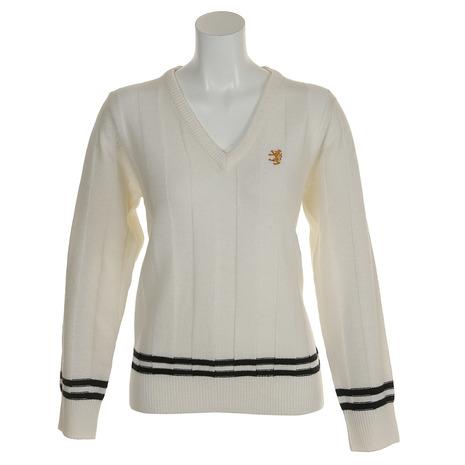 【8/5限定!エントリーでP10倍~】アドミラル(Admiral) ゴルフウェア レディース ストライプ リンクス セーター ADLA8S3-WHT (Lady's)