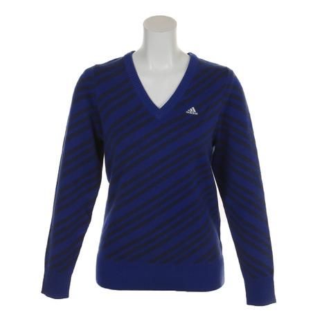 アディダス(adidas) バイアスストLSVネックセーター CCT00-U31418Pブルー (Lady's)