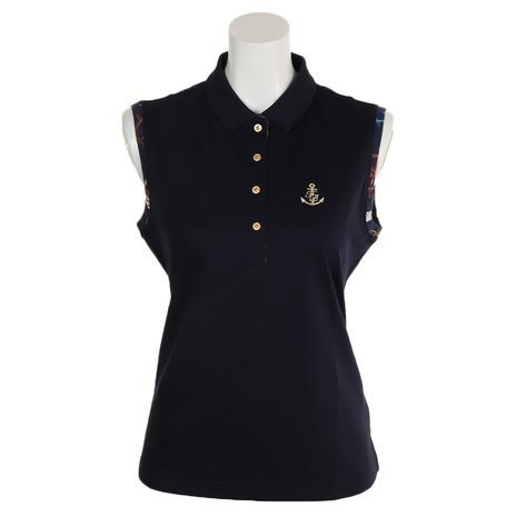 フォーリアブリランテ(FogliaBrillante) ゴルフウェア レディース プリントノースリープポロ FBAL-SLPO5-NVY (Lady's)