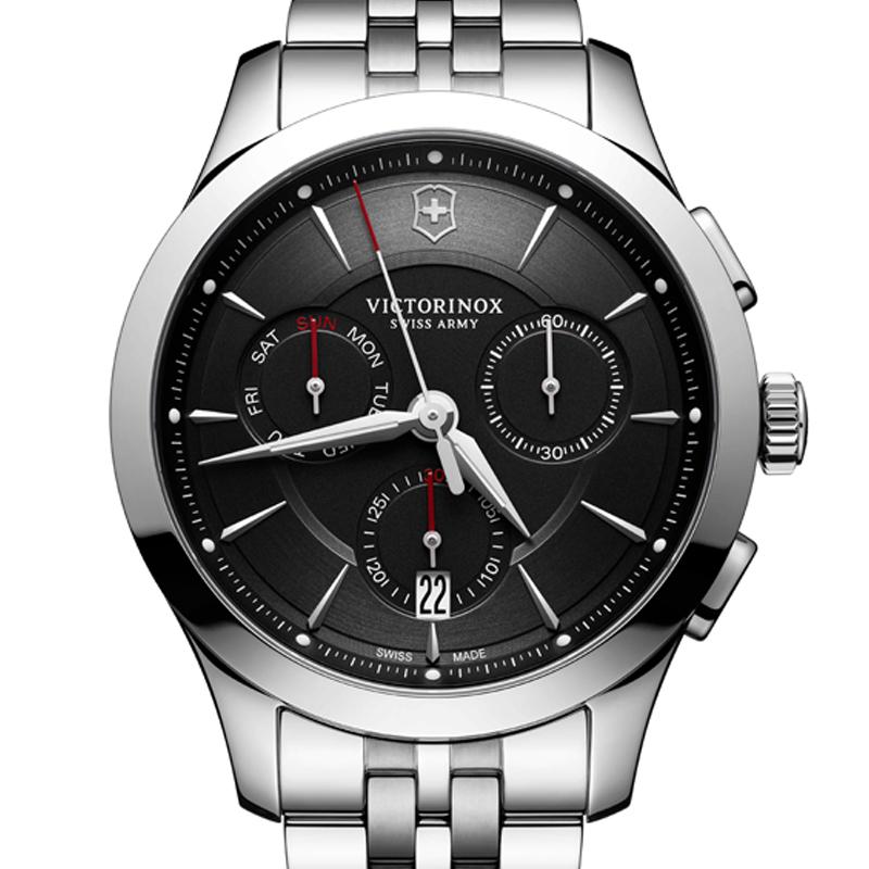 VICTORINOX(ビクトリノックス)公式 ALLIANCE アライアンス クロノグラフ 【日本正規品、保証書付】 241745 ステンレススチールブレスレット ブラック 時計 ウォッチ
