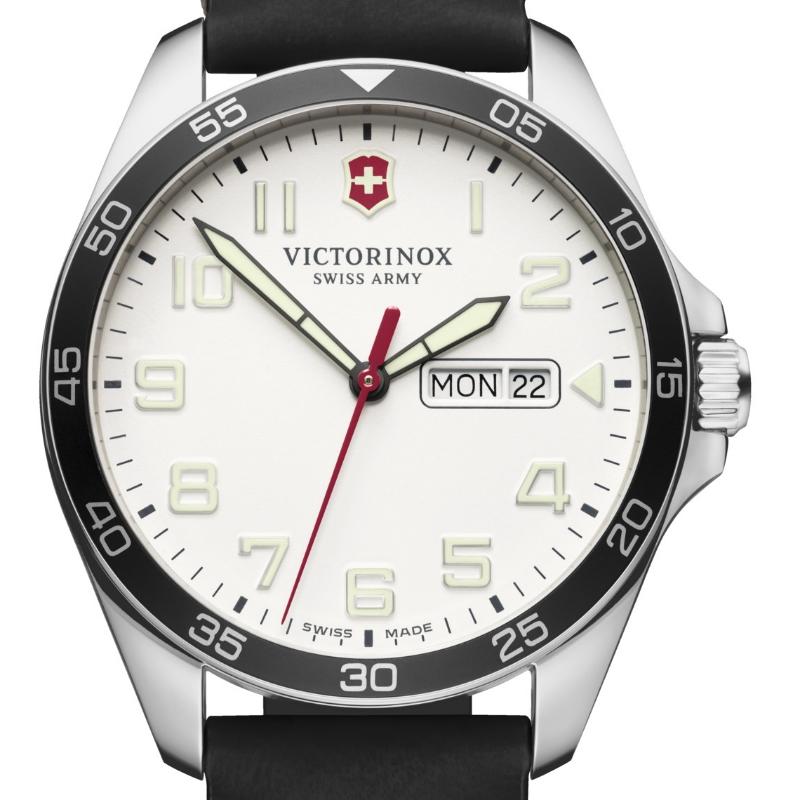 VICTORINOX(ビクトリノックス)公式 FIELDFORCE フィールドフォース(ホワイト)レザーストラップ (ブラック)【日本正規品、保証書付】241847 時計 腕時計 ウォッチ スイス製