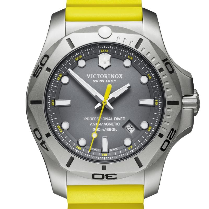 VICTORINOX(ビクトリノックス)公式 I.N.O.X. イノックス プロフェッショナルダイバー【日本正規品、保証書付】241844 天然ラバーストラップ (イエロー ) 時計 ウォッチ