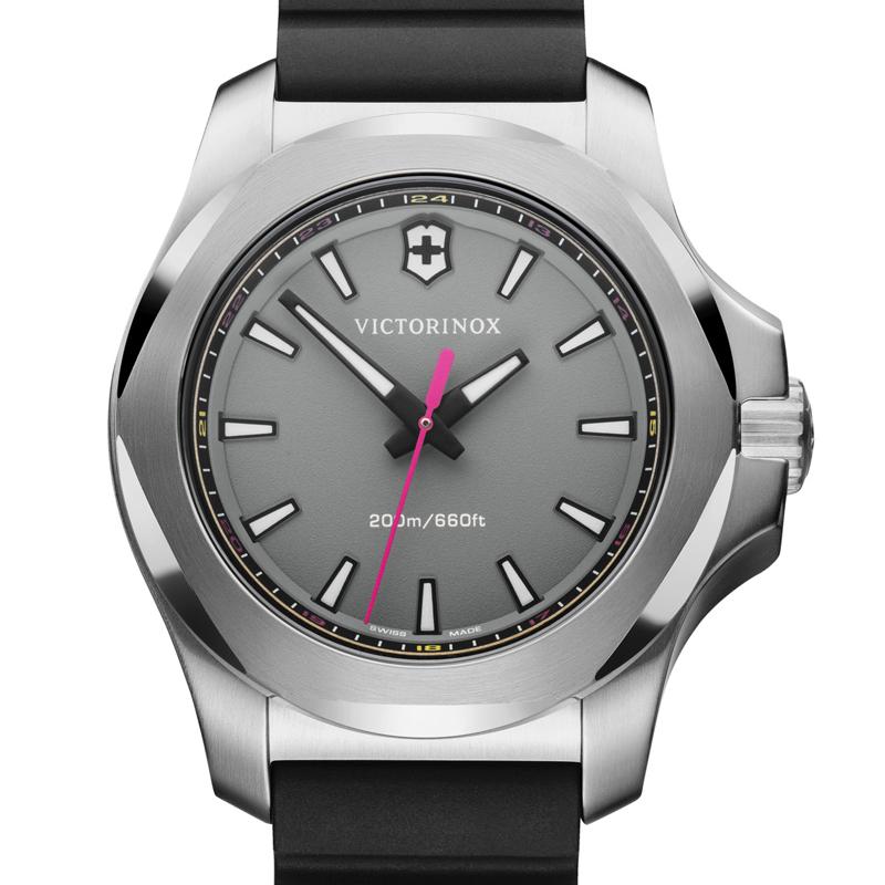 VICTORINOX(ビクトリノックス)公式 I.N.O.X. V イノックスV グレー レディース 【日本正規品、保証書付】 241881 ラバーストラップ (ブラック) 時計 ウォッチ