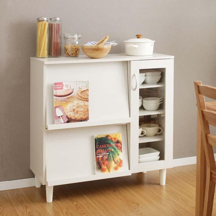 キャビネット 収納 キッチン収納 キッチンキャビネット KBN-9390 オフホワイト・ウォールナットキッチンボード キッチンチェスト 食器棚 キッチン家具 台所 レンジ台 カップボード スライド引き出し アイリスオーヤマ