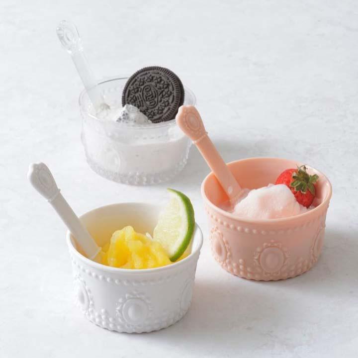 アイスクリームカップ&スプーン マット BAC001-WH・PK・BR食器 皿 スプーン マット素材 おしゃれ セット アイス 食器マット素材 食器アイス 皿マット素材 マット素材食器 アイス食器 マット素材皿 ブラウン・ピンク・ホワイト