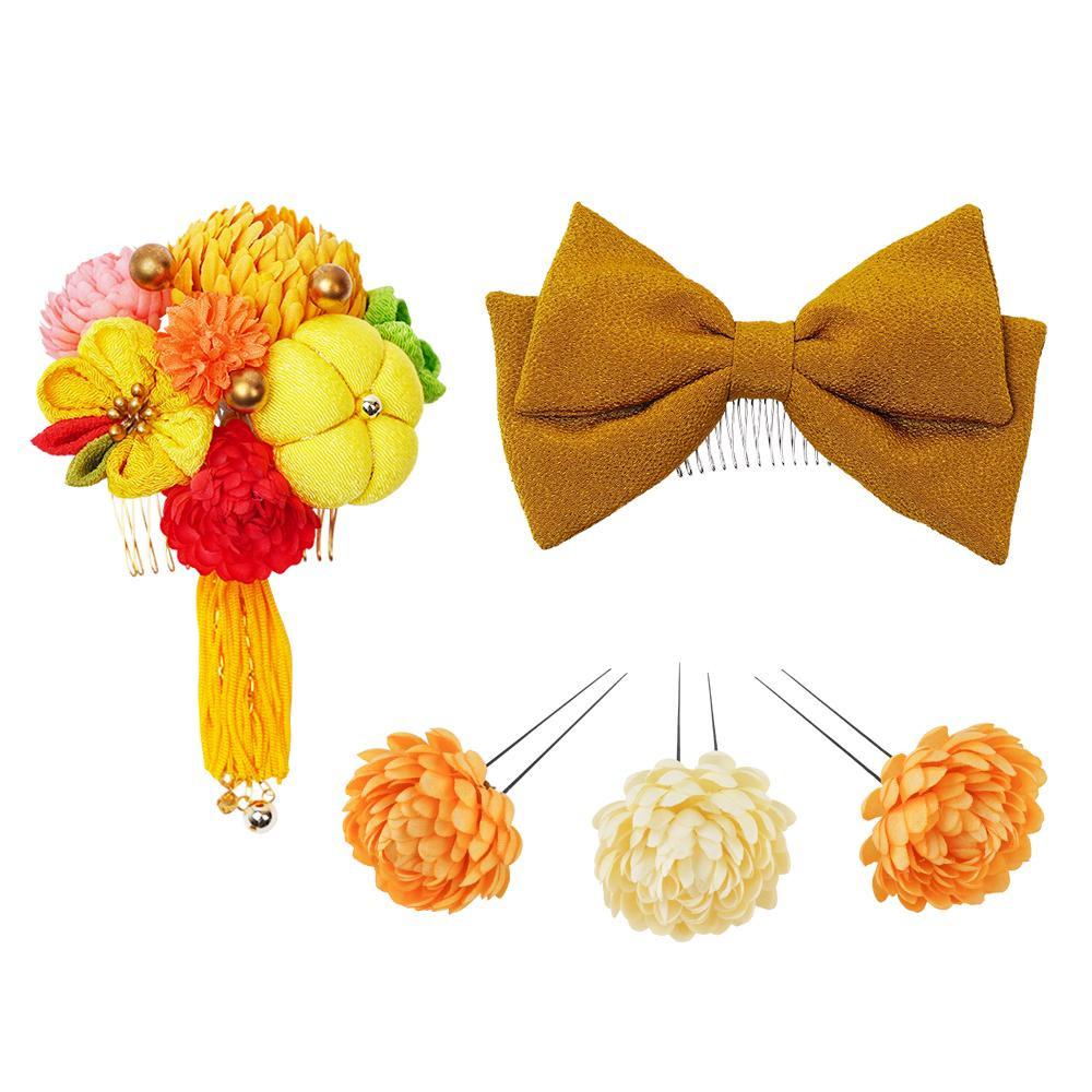 ぽんぽん菊とリボンの和風髪飾りセット (コーム2点・Uピン3本) 224-041 イエロー