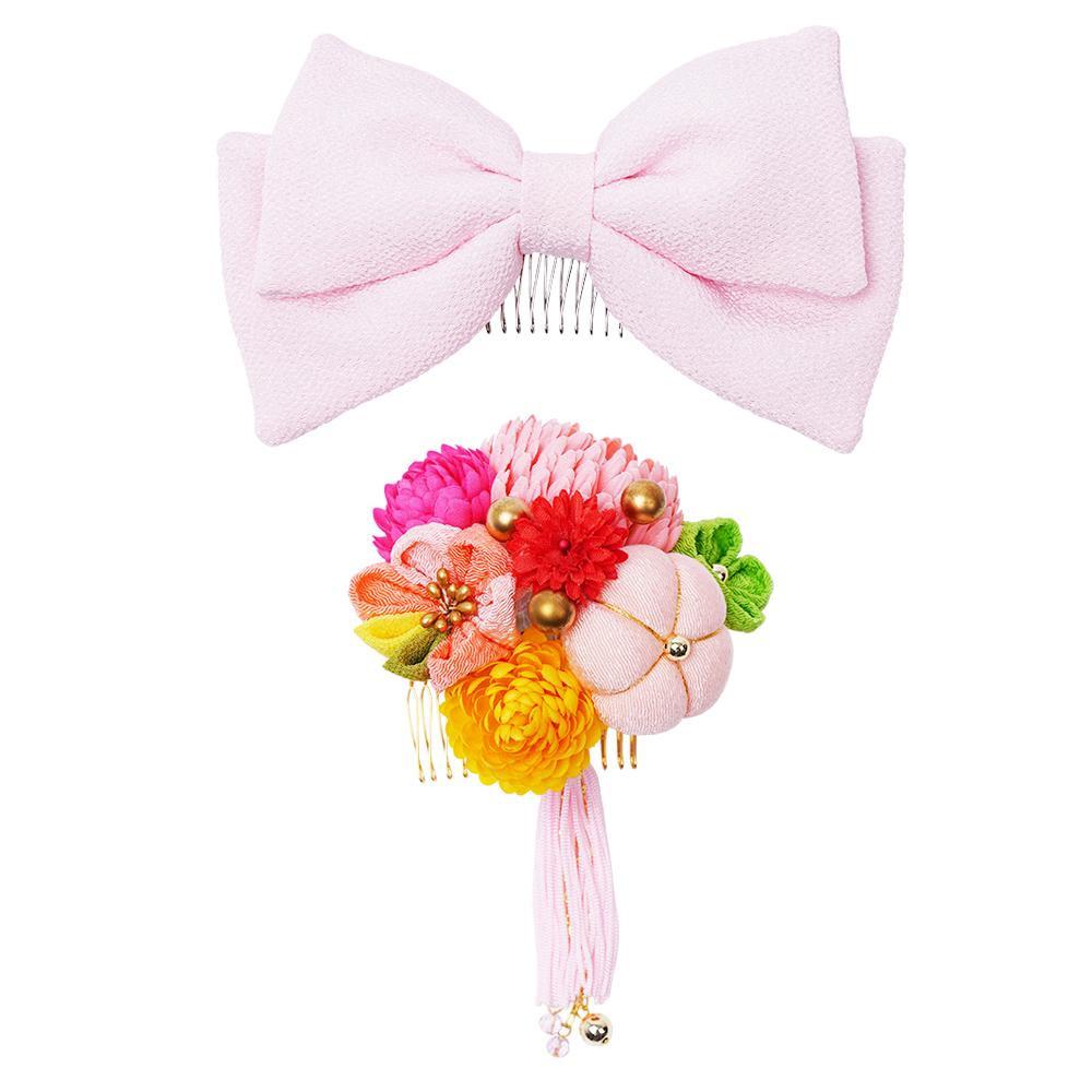 ぽんぽん菊とリボンの和風髪飾りセット (コーム2点) 224-042 サーモン