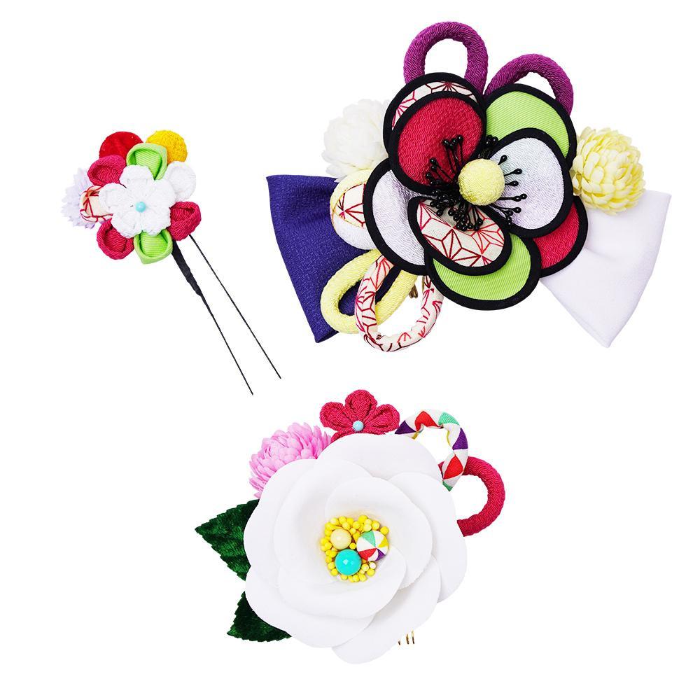 レトロポップな和風髪飾りセット (コーム2点・Uピン) 224-056 シロ