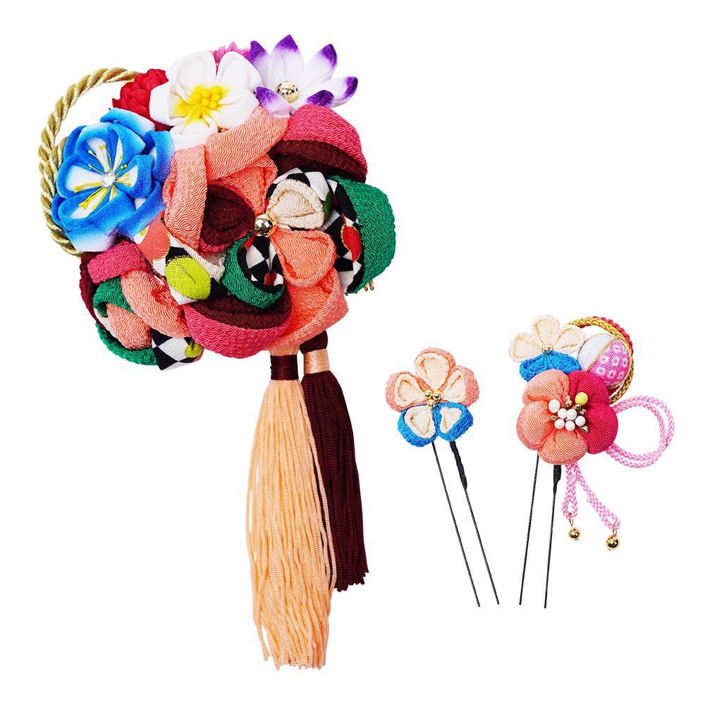 レトロポップな和風髪飾りセット (コーム・Uピン2本) 224-057 サーモン