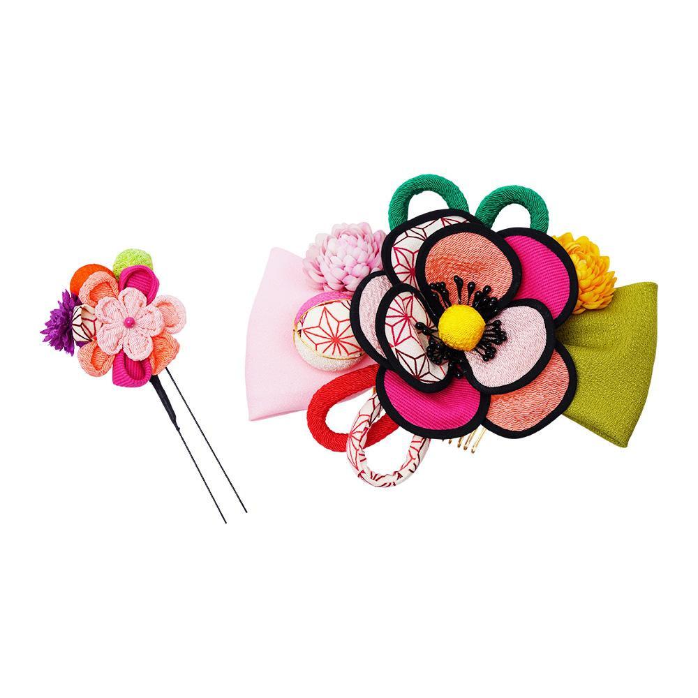 レトロポップな和風髪飾り (コーム・Uピン) 224-022 サーモン