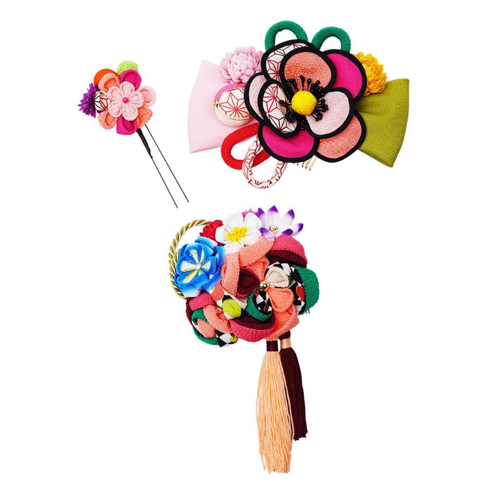レトロポップな和風髪飾りセット (コーム2点・Uピン) 224-031 サーモン