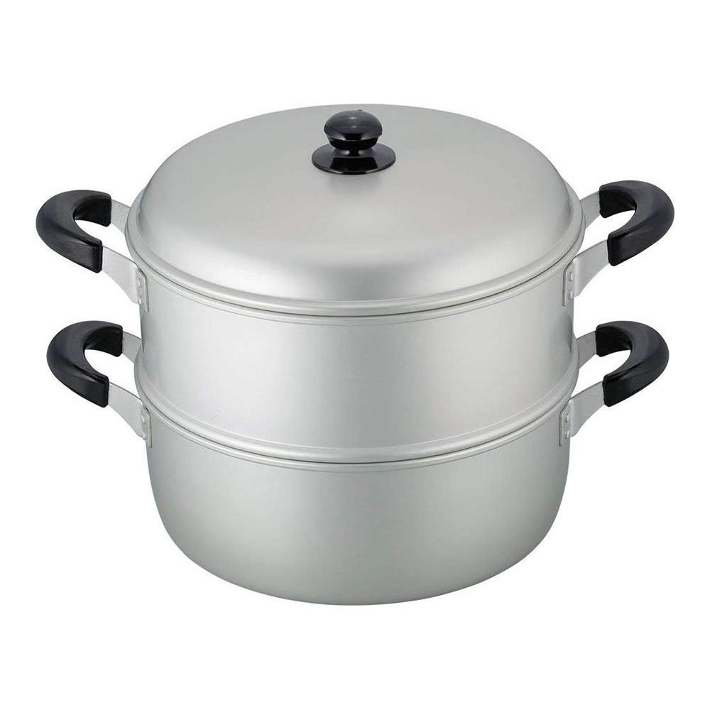 舞楽 アルマイト加工二段蒸し器30cm MR-7592【代引・同梱・ラッピング不可】