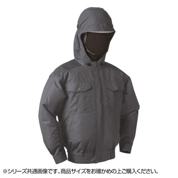 NB-101A 空調服 充黒セット 5L チャコールグレー チタン フード 8209898