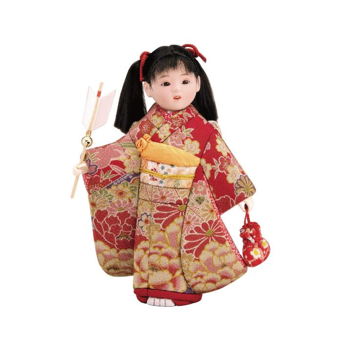 01-604 木目込み人形 初詣(古布調) 完成品