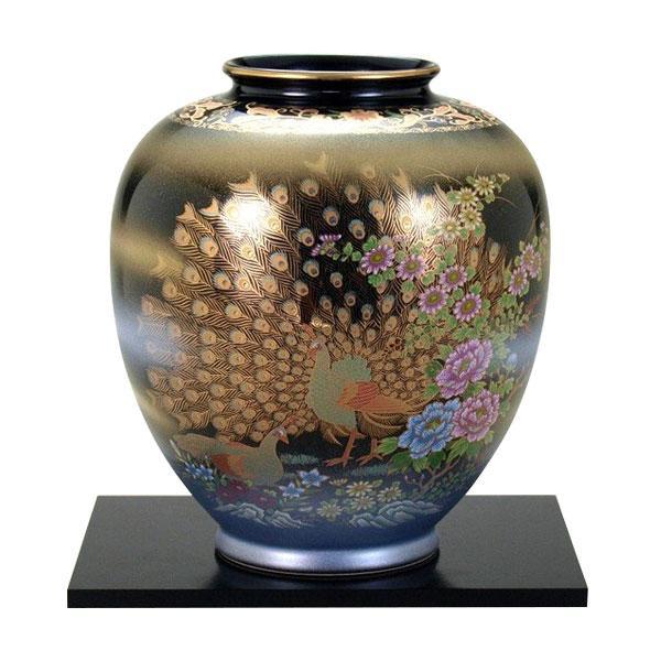 九谷焼 8号花瓶 天目金孔雀 N172-05