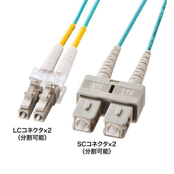 サンワサプライ OM3光ファイバケーブル 10m HKB-OM3LCSC-10L