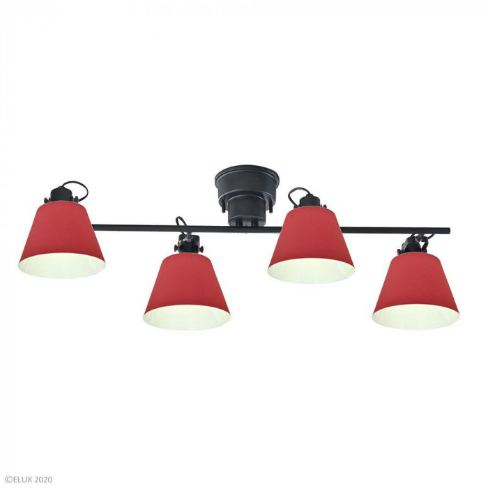 ELUX(エルックス) FLAGS(フラッグス) 4灯シーリングライト レッド LC10929-RD【代引・同梱・ラッピング不可】