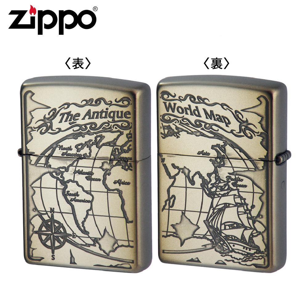 ZIPPO(ジッポー) オイルライター 2WM-VNI ワールドマップ ニッケルイブシ