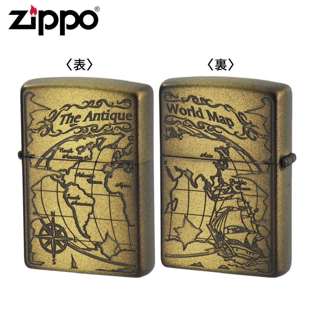 ZIPPO(ジッポー) オイルライター 2WM-VBI ワールドマップ ブラスイブシ
