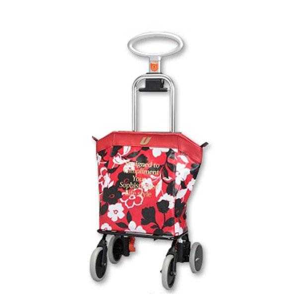 ショッピングカート アップライン UL-0218(花柄・レッド)【代引・同梱・ラッピング不可】