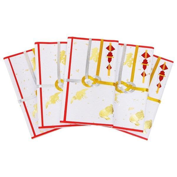 エヒメ紙工 祝儀袋 夫婦紙 金振 赤 金封赤白3枚入 5冊パックミヨ10-R35
