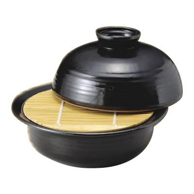T15-118-3 山本安志作 手造り黒釉 10号多用鍋