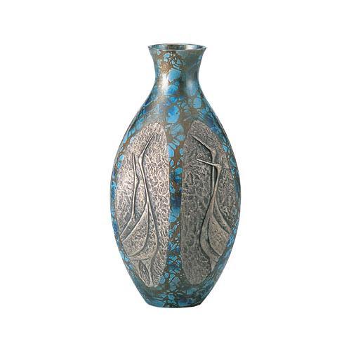 高岡銅器 銅製花瓶 六角ダルマ鶴地紋 8号 98-06