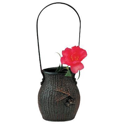 高岡銅器 銅製花瓶 変形網代 98-09