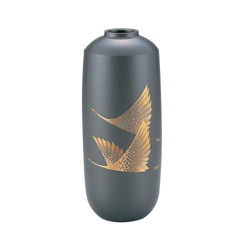 高岡銅器 銅製花瓶 蒔絵 寸胴 双鶴 102-01