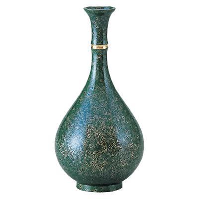 高岡銅器 銅製花瓶 宝玉形 パールグリーン 103-02