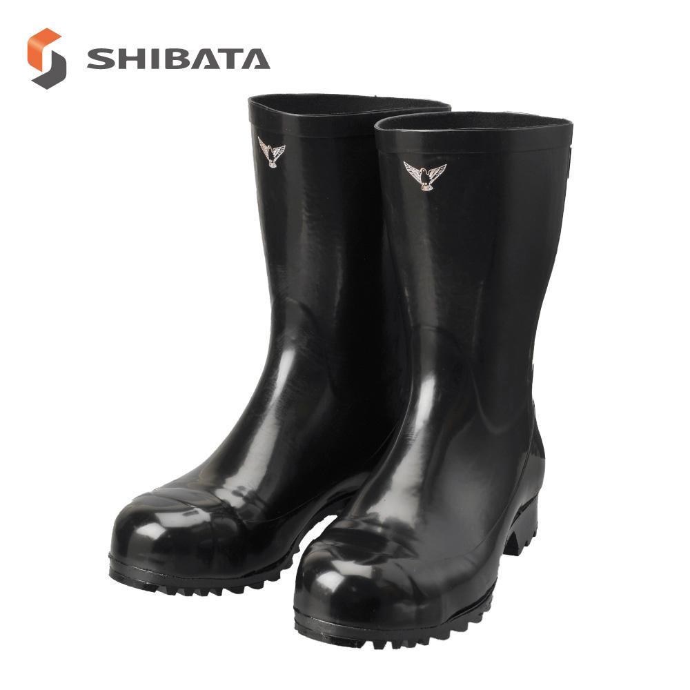 SHIBATA シバタ工業 安全長靴 安全軽半長 AK010 ブラック 29センチ