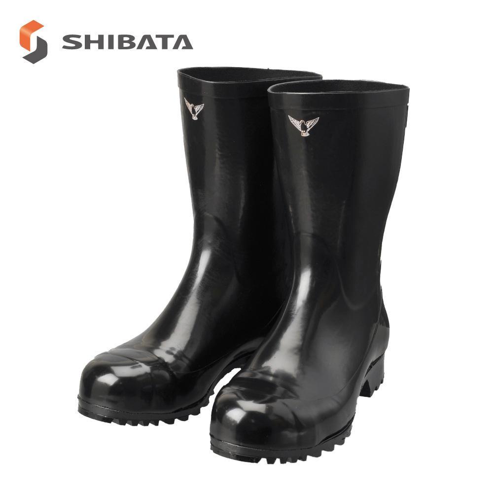 SHIBATA シバタ工業 安全長靴 安全軽半長 AK010 ブラック 32センチ