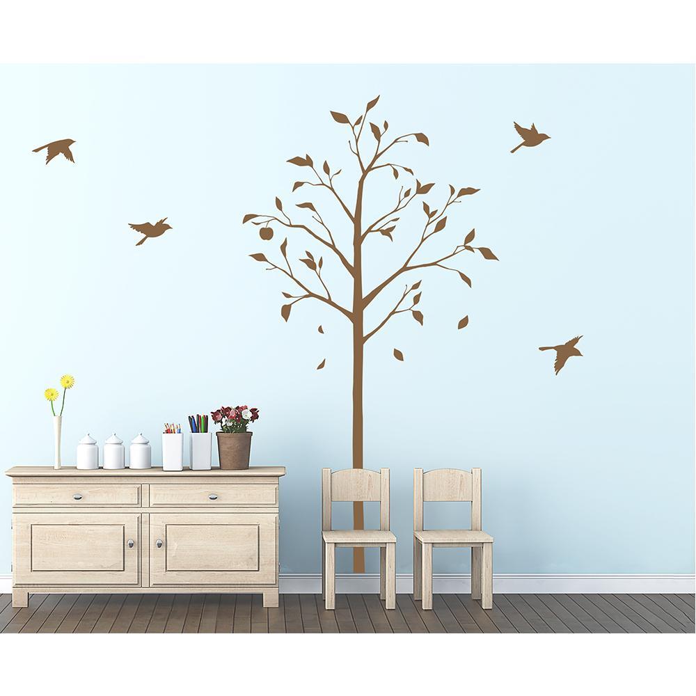 東京ステッカー ウォールステッカー 転写式 林檎の木と小鳥 ブラウン Mサイズ TS-0051-CM【代引・同梱・ラッピング不可】