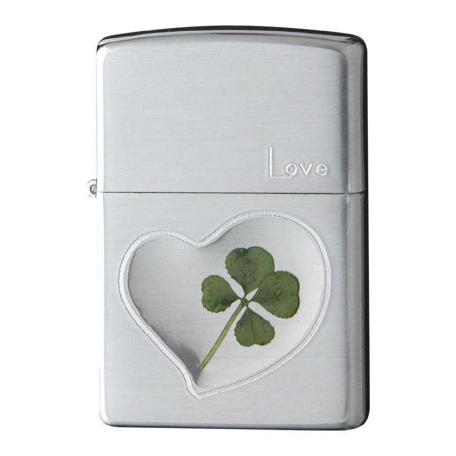 ZIPPO(ジッポー) オイルライター 四つ葉 本物のクローバー 銀サテーナ Love 愛 63260498