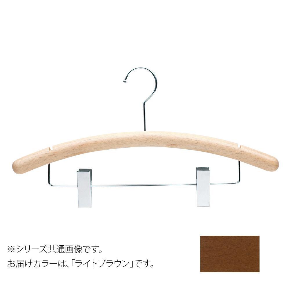 日本製 木製ハンガーメンズ用 ライトブラウン 5本セット T-4203 クリップ付 肩幅42cm×肩厚2.5Φcm