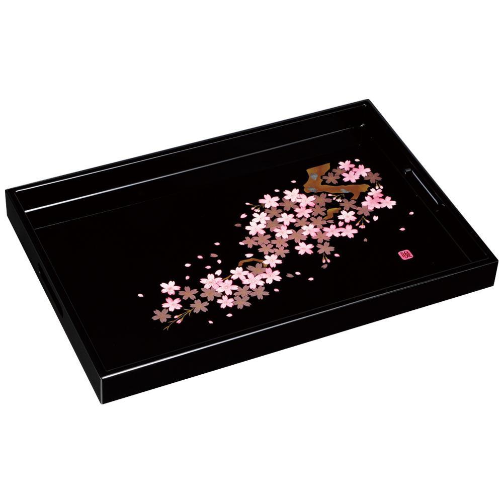 木製長手盆 黒 雅桜 45cm 2452059