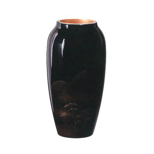 輪島塗 花器 壺型 黒呂色 遠山蒔絵 WA2-6